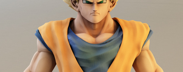 3d goku model closeup wide