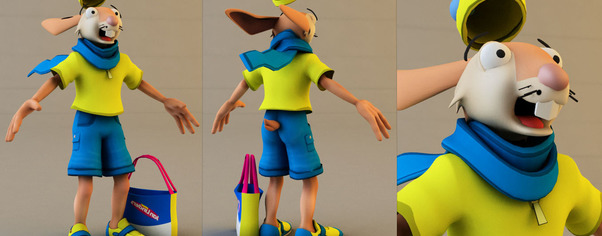 3d model rabbit color wide