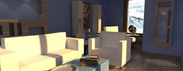 3d architectural render interior 2 wide