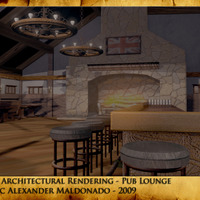 3d architectural rendering   pub lounge cover