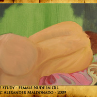 Life study   female nude in oil cover