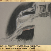 Nude life study   seated man charcoal cover