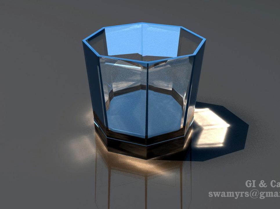 Wine glass caustics show