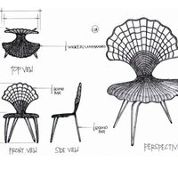 Wrougt iron scalope chair cover