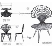 Wrougt iron scalope chair small