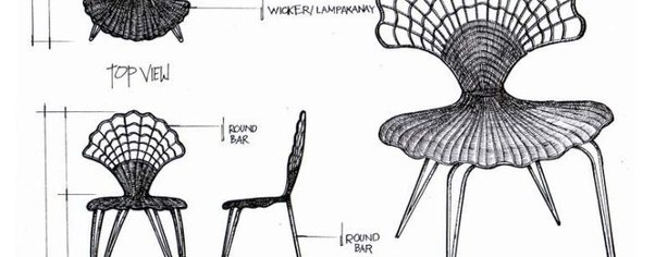 Wrougt iron scalope chair wide