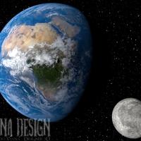 Render planeta terra e lua cover