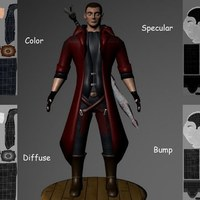 Devil may cry or fighter mapping hand paint texture  cover