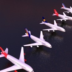 Airbus A380 Cinema 4D Collection 3D Model