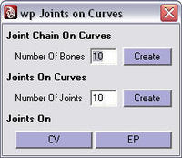 Free wp joints on curves for Maya 1.0.0 (maya script)