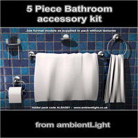 Bathroom Accessory Set 3D Model