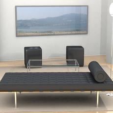 Mies Van Der Rohe Day Bed Scene 3D Model