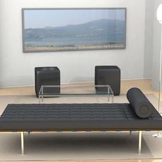Mies Van Der Rohe Day Bed Scene 3D Model