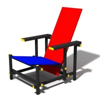 Free Red-Blue chair 3D Model