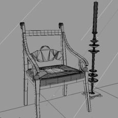 antique biedermeier furnitures polygonal 3D Model