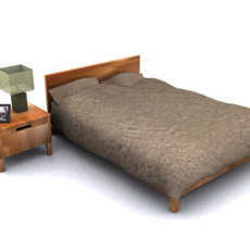 walnut bed and bedside table 3D Model