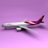 777-200lr Thai Airliner 3D Model
