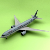 Boeing 777 Qatar Airliner 3D Model
