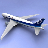 Boeing 777 Ana Airliner 3D Model