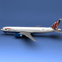 Boeing 777 British Airways Chelsea Rose 3D Model