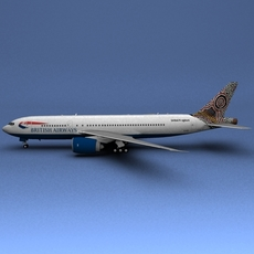 Boeing 777 British Airways Water Dreaming 3D Model