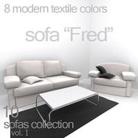 """sofa """"Fred"""" 3D Model"""