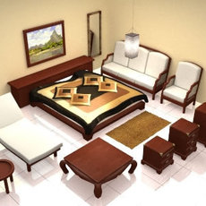 bali style bedroom lwo 3D Model