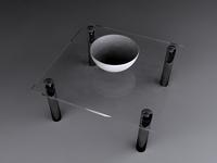 Glass Table & Bowl 3D Model