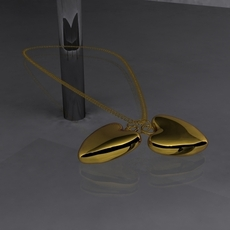 Gold Heart Pendant 3D Model