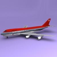 Boeing 747 NWA 3D Model