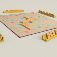 scrabble board and pieces 3D Model