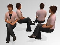 10 Low Polygon 3d People - Seated 3D Model