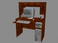 Computer desk w/ PC 3D Model