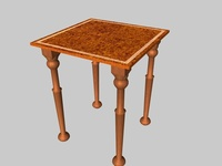 Free Occasional table with beading 3D Model