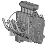 BLOWN CHEVROLET SMALL-BLOCK ENGINE 3D Model