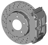 BRAKE CALIPER WITH CROSS-DRILLED ROTOR 3D Model