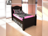 Ashley Jaidyn Twin Poster Bed 3D Model
