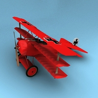 Fokker DR.1 Triplane Red Baron 3D Model