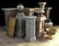 Pedestals and Urns 3D Model