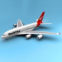 A-380 Qantas 3D Model