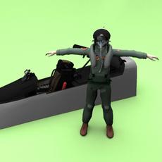 pilot with cockpit 3D Model