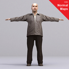 bald man - aXYZ design - Man0002-CS / Rigged for 3D Max + Character Studio 3D Model