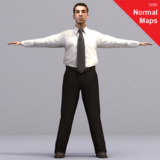 Business Man - aXYZ design -  AMan0003-CS / Rigged for 3D Max + Character Studio 3D Model