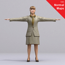 blonde female flight attendant AWoman0002-CS / RIGGED for 3D Max + Character Studio 3D Model
