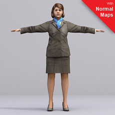 Brunette female flight attendant - aXYZ design - AWom0003-CS / Rigged for 3D Max + Character Studio 3D Model