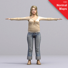 Blonde woman in jeans and sweater - aXYZ design - AWom0004-CS / Rigged for 3D Max + Character Studio 3D Model