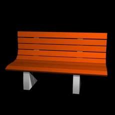 Park bench (low) 3D Model