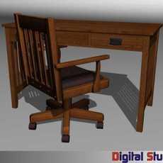 Mission Style Furniture 3D Model
