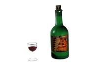 Wine Bottle/Glass 3D Model