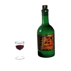 Wine Bottle/Glass 3D Model